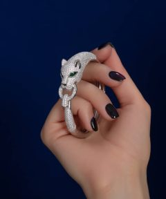 دستبند النگویی زنانه مدل پنتر نقره