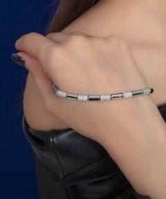خرید دستبند با آبکاری طلا سفید فوق جذاب