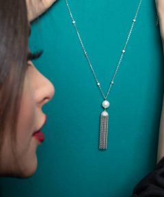 خرید گردنبند جذاب نقره طرح جواهر