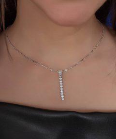 خرید گردنبند نقره فوق العاده جذاب طرح جواهر
