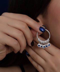 خرید گوشواره جذاب چشم نظر طرح جواهر