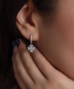 گوشواره نقره طرح جواهر