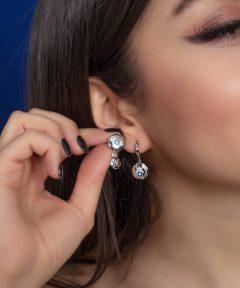 خرید گوشواره جذاب نگین دار طرح جواهر