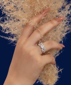 انگشتر نقره طرح جواهر
